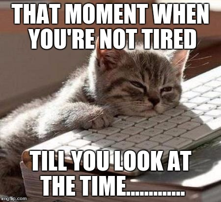 THAT MOMENT WHEN YOU'RE NOT TIRED TILL YOU LOOK AT THE TIME............. | image tagged in tired,sleep,time | made w/ Imgflip meme maker