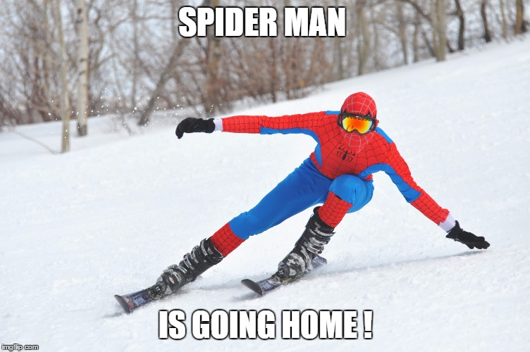 Spider Man is going Home  | SPIDER MAN IS GOING HOME ! | image tagged in spiderman,skiing | made w/ Imgflip meme maker