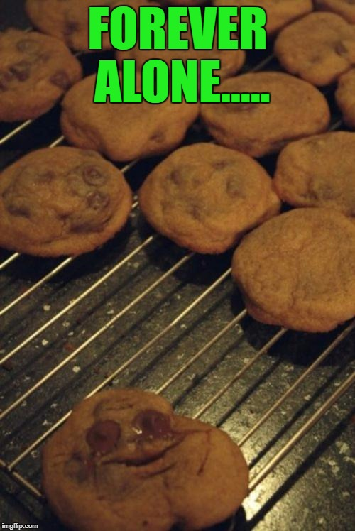 Memes in real life... | FOREVER ALONE..... | image tagged in forever alone guy,memes,cookies,funny,sad chocolate,memes in real life | made w/ Imgflip meme maker