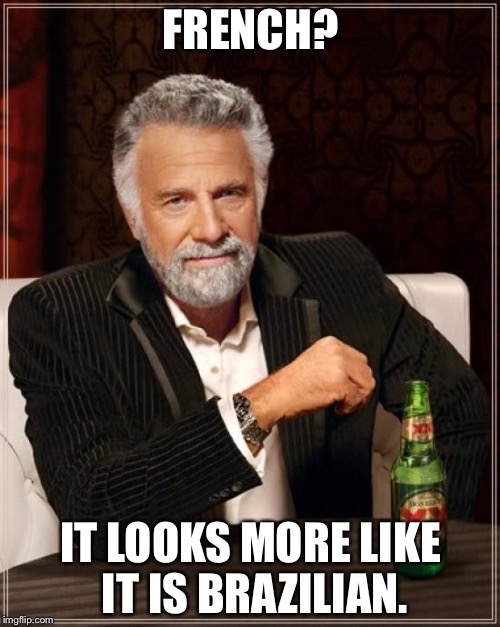 The Most Interesting Man In The World Meme | FRENCH? IT LOOKS MORE LIKE IT IS BRAZILIAN. | image tagged in memes,the most interesting man in the world | made w/ Imgflip meme maker