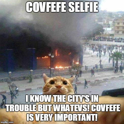 Selfie cat | COVFEFE SELFIE I KNOW THE CITY'S IN TROUBLE BUT WHATEVS! COVFEFE IS VERY IMPORTANT! | image tagged in selfie cat | made w/ Imgflip meme maker