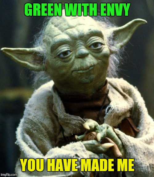 Star Wars Yoda Meme | GREEN WITH ENVY YOU HAVE MADE ME | image tagged in memes,star wars yoda | made w/ Imgflip meme maker
