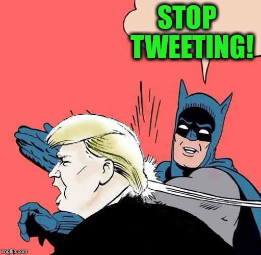 Not all of us that support his policies support his juvenile behavior.  FFS...just stop! | STOP   TWEETING! | image tagged in batman slaps trump,twitter,tweet,ffs | made w/ Imgflip meme maker