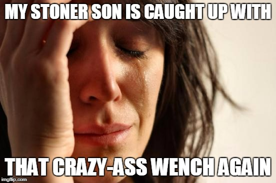 First World Problems Meme | MY STONER SON IS CAUGHT UP WITH THAT CRAZY-ASS WENCH AGAIN | image tagged in memes,first world problems | made w/ Imgflip meme maker