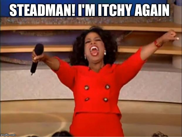 Oprah You Get A Meme | STEADMAN! I'M ITCHY AGAIN | image tagged in memes,oprah you get a | made w/ Imgflip meme maker
