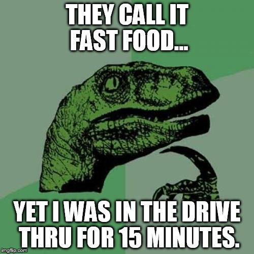 Philosoraptor Meme | THEY CALL IT FAST FOOD... YET I WAS IN THE DRIVE THRU FOR 15 MINUTES. | image tagged in memes,philosoraptor | made w/ Imgflip meme maker