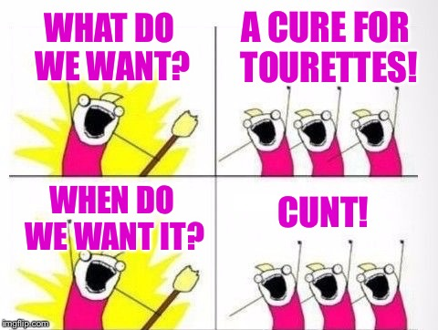 WHAT DO WE WANT? C**T! A CURE FOR TOURETTES! WHEN DO WE WANT IT? | made w/ Imgflip meme maker