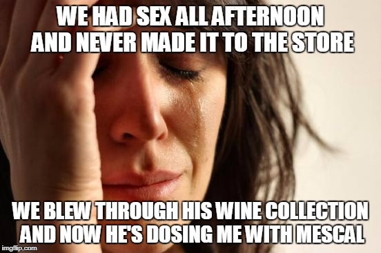 First World Problems Meme | WE HAD SEX ALL AFTERNOON AND NEVER MADE IT TO THE STORE WE BLEW THROUGH HIS WINE COLLECTION AND NOW HE'S DOSING ME WITH MESCAL | image tagged in memes,first world problems | made w/ Imgflip meme maker