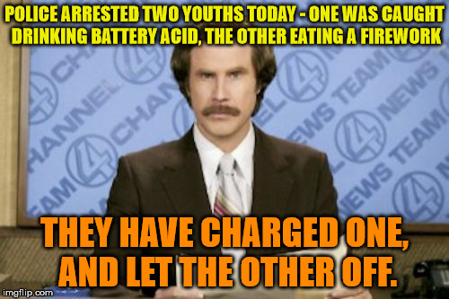 I heard he'll be self discharged in 3-20 months! | POLICE ARRESTED TWO YOUTHS TODAY - ONE WAS CAUGHT DRINKING BATTERY ACID, THE OTHER EATING A FIREWORK THEY HAVE CHARGED ONE, AND LET THE OTHE | image tagged in memes,ron burgundy,battery,fireworks | made w/ Imgflip meme maker