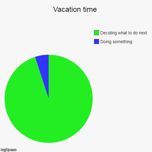 With Family Especially  | Vacation time | Doing something, Deciding what to do next | image tagged in funny,pie charts,vacation | made w/ Imgflip pie chart maker
