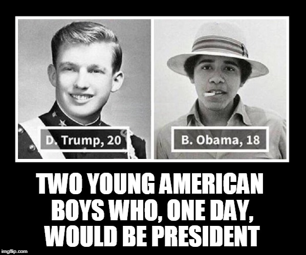 2 American Boys: Different, But the Same | TWO YOUNG AMERICAN BOYS WHO, ONE DAY, WOULD BE PRESIDENT | image tagged in vince vance,barack obama,donald trump,potus,memes,the lure of fame | made w/ Imgflip meme maker