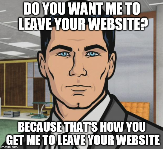 Archer Meme | DO YOU WANT ME TO LEAVE YOUR WEBSITE? BECAUSE THAT'S HOW YOU GET ME TO LEAVE YOUR WEBSITE | image tagged in memes,archer,AdviceAnimals | made w/ Imgflip meme maker