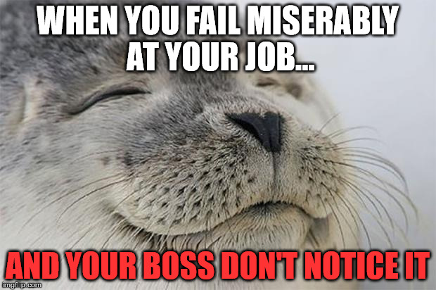 Satisfied Seal Meme | WHEN YOU FAIL MISERABLY AT YOUR JOB... AND YOUR BOSS DON'T NOTICE IT | image tagged in memes,satisfied seal | made w/ Imgflip meme maker