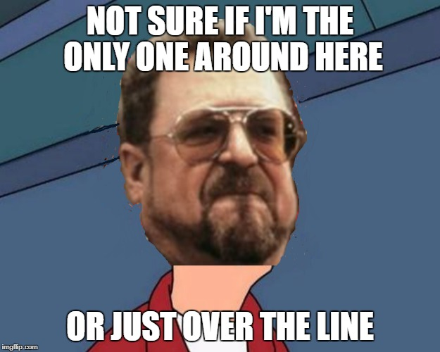 Futurama Lebowski | NOT SURE IF I'M THE ONLY ONE AROUND HERE OR JUST OVER THE LINE | image tagged in not sure if,am i the only one around here,over the line | made w/ Imgflip meme maker