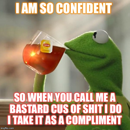 But Thats None Of My Business Meme | I AM SO CONFIDENT SO WHEN YOU CALL ME A BASTARD CUS OF SHIT I DO I TAKE IT AS A COMPLIMENT | image tagged in memes,but thats none of my business,kermit the frog | made w/ Imgflip meme maker