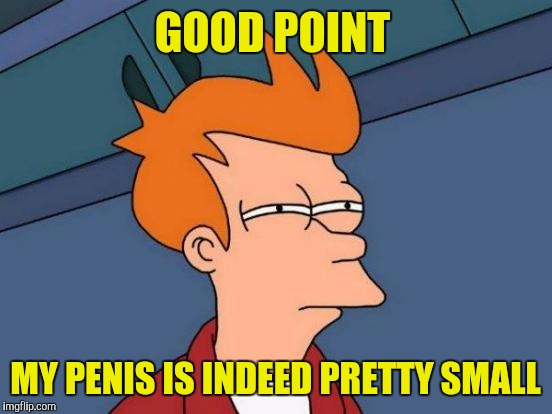 GOOD POINT MY P**IS IS INDEED PRETTY SMALL | made w/ Imgflip meme maker
