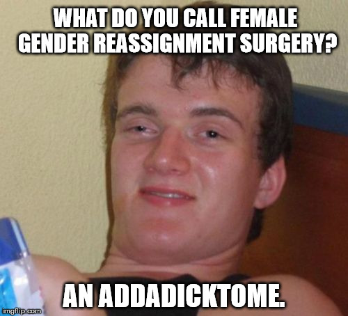 10 Guy Meme | WHAT DO YOU CALL FEMALE GENDER REASSIGNMENT SURGERY? AN ADDADICKTOME. | image tagged in memes,10 guy,gender,college liberal,funny,political | made w/ Imgflip meme maker
