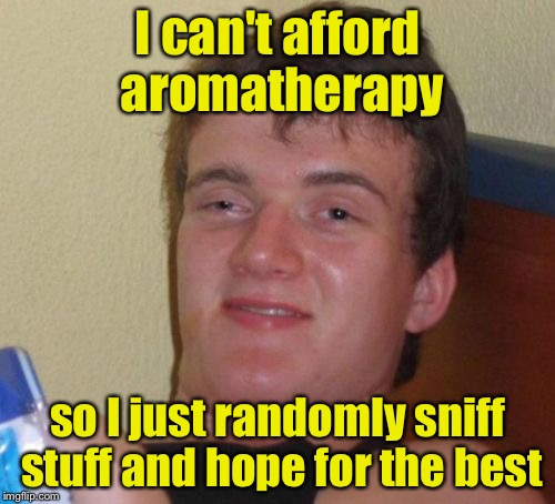 10 Guy Meme | I can't afford aromatherapy so I just randomly sniff stuff and hope for the best | image tagged in memes,10 guy | made w/ Imgflip meme maker