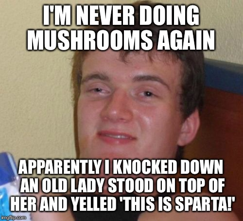 Enlightening elderly people  | I'M NEVER DOING MUSHROOMS AGAIN APPARENTLY I KNOCKED DOWN AN OLD LADY STOOD ON TOP OF HER AND YELLED 'THIS IS SPARTA!' | image tagged in memes,10 guy,funny | made w/ Imgflip meme maker