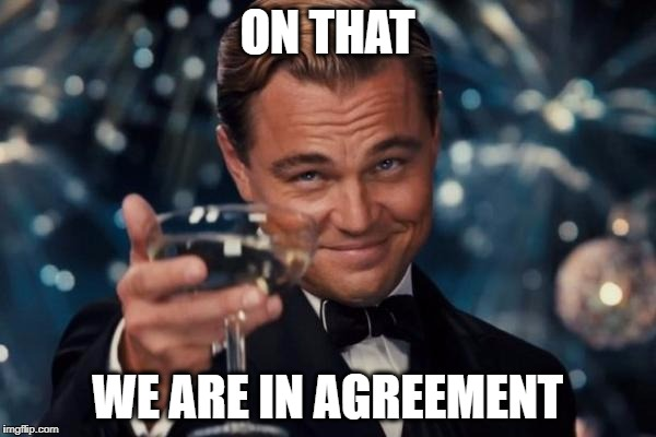 Leonardo Dicaprio Cheers Meme | ON THAT WE ARE IN AGREEMENT | image tagged in memes,leonardo dicaprio cheers | made w/ Imgflip meme maker