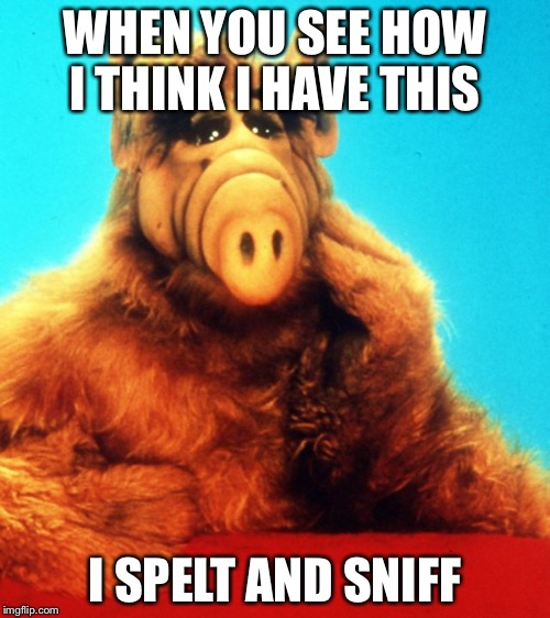 ALF The Alien  | WHEN YOU SEE HOW I THINK I HAVE THIS I SPELT AND SNIFF | image tagged in alf the alien,alf,when you see it | made w/ Imgflip meme maker