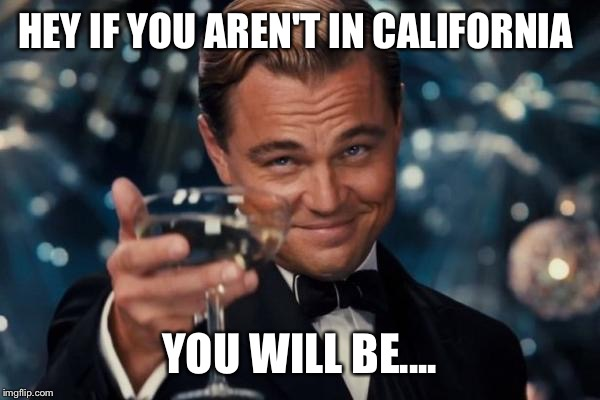 Leonardo Dicaprio Cheers Meme | HEY IF YOU AREN'T IN CALIFORNIA YOU WILL BE.... | image tagged in memes,leonardo dicaprio cheers | made w/ Imgflip meme maker