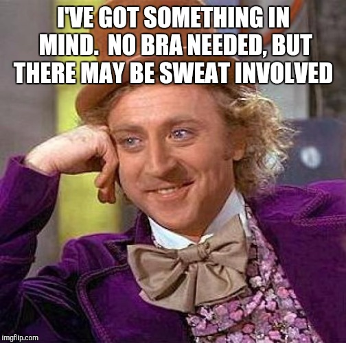 Creepy Condescending Wonka Meme | I'VE GOT SOMETHING IN MIND.  NO BRA NEEDED, BUT THERE MAY BE SWEAT INVOLVED | image tagged in memes,creepy condescending wonka | made w/ Imgflip meme maker