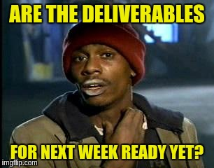 Y'all Got Any More Of That Meme | ARE THE DELIVERABLES FOR NEXT WEEK READY YET? | image tagged in memes,yall got any more of | made w/ Imgflip meme maker
