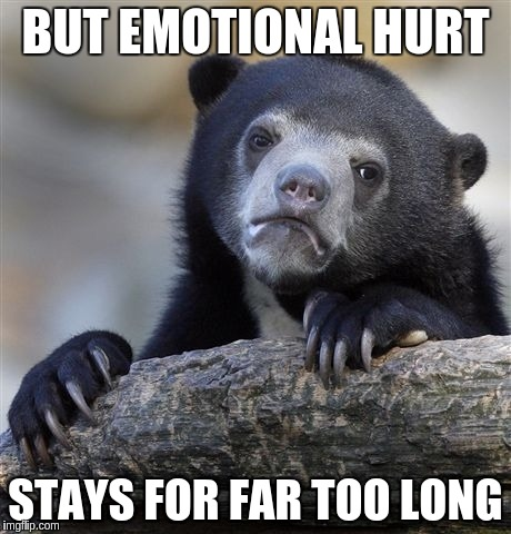 Confession Bear Meme | BUT EMOTIONAL HURT STAYS FOR FAR TOO LONG | image tagged in memes,confession bear | made w/ Imgflip meme maker
