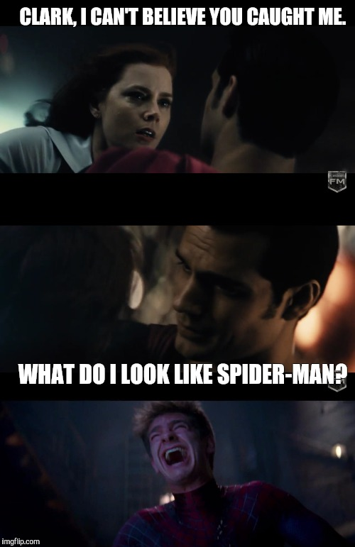 Savage Supes | CLARK, I CAN'T BELIEVE YOU CAUGHT ME. WHAT DO I LOOK LIKE SPIDER-MAN? | image tagged in batman vs superman,batman v superman,superman,spiderman,memes,funny memes | made w/ Imgflip meme maker