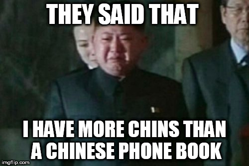 Kim Jong Un Sad |  THEY SAID THAT; I HAVE MORE CHINS THAN A CHINESE PHONE BOOK | image tagged in memes,kim jong un sad | made w/ Imgflip meme maker