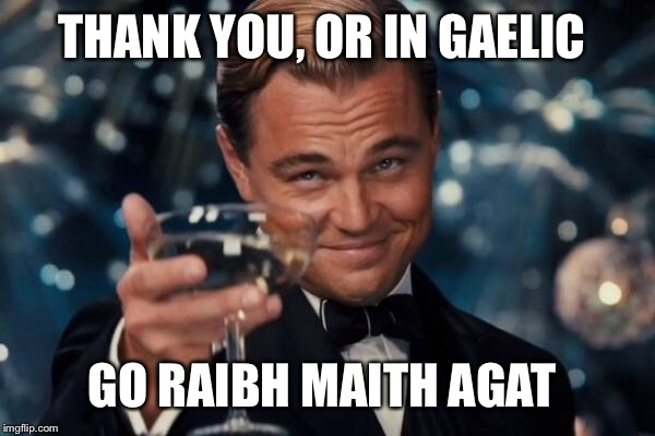 Leonardo Dicaprio Cheers Meme | THANK YOU, OR IN GAELIC GO RAIBH MAITH AGAT | image tagged in memes,leonardo dicaprio cheers | made w/ Imgflip meme maker