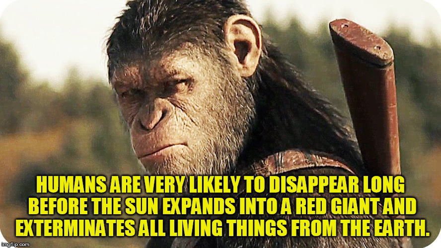 HUMANS ARE VERY LIKELY TO DISAPPEAR LONG BEFORE THE SUN EXPANDS INTO A RED GIANT AND EXTERMINATES ALL LIVING THINGS FROM THE EARTH. | made w/ Imgflip meme maker