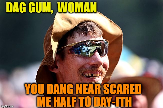 redneck | DAG GUM,  WOMAN YOU DANG NEAR SCARED ME HALF TO DAY-ITH | image tagged in redneck | made w/ Imgflip meme maker
