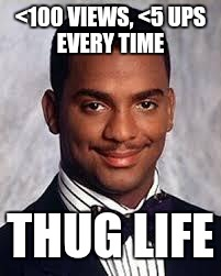 I don't always complain about imgflip invisibility, but when I do I use a smirking black man | <100 VIEWS, <5 UPS EVERY TIME THUG LIFE | image tagged in thug life,memes,imgflip | made w/ Imgflip meme maker
