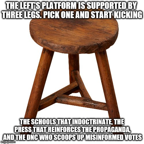 One broken leg will topple the left | THE LEFT'S PLATFORM IS SUPPORTED BY THREE LEGS. PICK ONE AND START KICKING THE SCHOOLS THAT INDOCTRINATE, THE PRESS THAT REINFORCES THE PROP | image tagged in patriotism | made w/ Imgflip meme maker