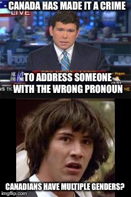 Seriously people, WTF are you thinking? | CANADA HAS MADE IT A CRIME TO ADDRESS SOMEONE WITH THE WRONG PRONOUN CANADIANS HAVE MULTIPLE GENDERS? | image tagged in conspiracy keanu,canadians,wtf,free speech,stupid liberals | made w/ Imgflip meme maker