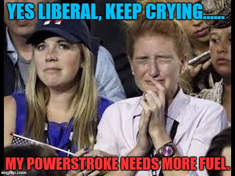 Crying liberals  | YES LIBERAL, KEEP CRYING...... MY POWERSTROKE NEEDS MORE FUEL. | image tagged in crying liberals,ford | made w/ Imgflip meme maker