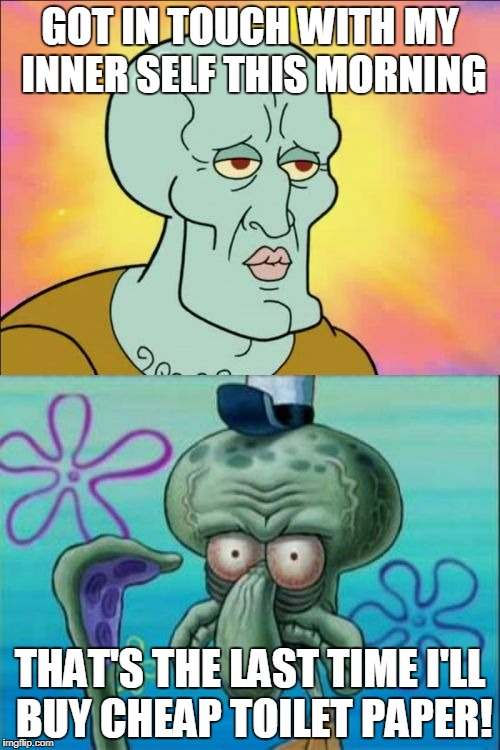 Squidward Meme | GOT IN TOUCH WITH MY INNER SELF THIS MORNING THAT'S THE LAST TIME I'LL BUY CHEAP TOILET PAPER! | image tagged in memes,squidward | made w/ Imgflip meme maker
