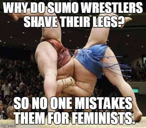 Untitled  | WHY DO SUMO WRESTLERS SHAVE THEIR LEGS? SO NO ONE MISTAKES THEM FOR FEMINISTS. | image tagged in funny joke,sumo,feminist,funny memes | made w/ Imgflip meme maker
