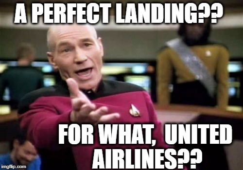 Picard Wtf Meme | A PERFECT LANDING?? FOR WHAT,  UNITED AIRLINES?? | image tagged in memes,picard wtf | made w/ Imgflip meme maker