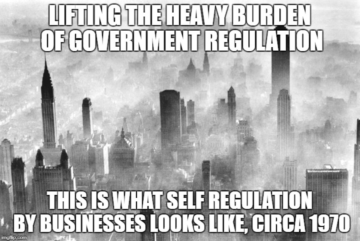 LIFTING THE HEAVY BURDEN OF GOVERNMENT REGULATION; THIS IS WHAT SELF REGULATION BY BUSINESSES LOOKS LIKE, CIRCA 1970 | image tagged in government,laws | made w/ Imgflip meme maker