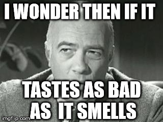 I WONDER THEN IF IT TASTES AS BAD AS  IT SMELLS | made w/ Imgflip meme maker