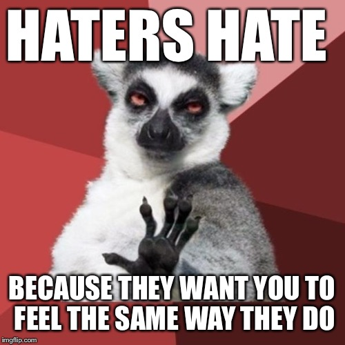 Chill Out Lemur Meme |  HATERS HATE; BECAUSE THEY WANT YOU TO FEEL THE SAME WAY THEY DO | image tagged in memes,chill out lemur | made w/ Imgflip meme maker