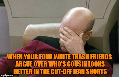Captain Picard Facepalm Meme | WHEN YOUR FOUR WHITE TRASH FRIENDS ARGUE OVER WHO'S COUSIN LOOKS BETTER IN THE CUT-OFF JEAN SHORTS | image tagged in memes,captain picard facepalm | made w/ Imgflip meme maker