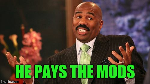 Steve Harvey Meme | HE PAYS THE MODS | image tagged in memes,steve harvey | made w/ Imgflip meme maker
