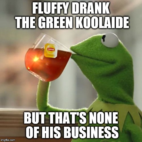 But Thats None Of My Business Meme | FLUFFY DRANK THE GREEN KOOLAIDE BUT THAT'S NONE OF HIS BUSINESS | image tagged in memes,but thats none of my business,kermit the frog | made w/ Imgflip meme maker
