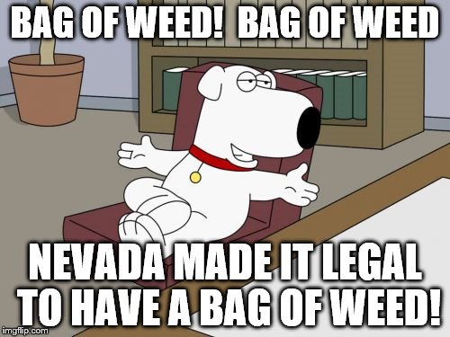 Brian Griffin Meme |  BAG OF WEED!  BAG OF WEED; NEVADA MADE IT LEGAL TO HAVE A BAG OF WEED! | image tagged in memes,brian griffin | made w/ Imgflip meme maker