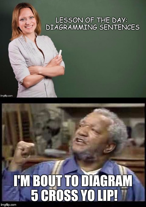 Fred don't play that! | I'M BOUT TO DIAGRAM 5 CROSS YO LIP! | image tagged in english class,teacher,fred sanford,sanford and son,class | made w/ Imgflip meme maker