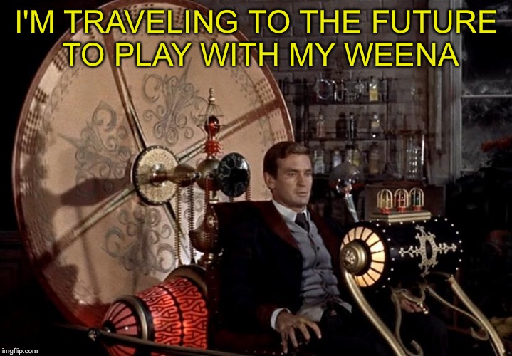 Bad Pun Time Machine | I'M TRAVELING TO THE FUTURE TO PLAY WITH MY WEENA | image tagged in time machine | made w/ Imgflip meme maker